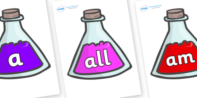 Foundation Stage 2 Keywords on Potions - FS2, CLL, keywords, Communication language and literacy,  Display, Key words, high frequency words, foundation stage literacy, DfES Letters and Sounds, Letters and Sounds, spelling