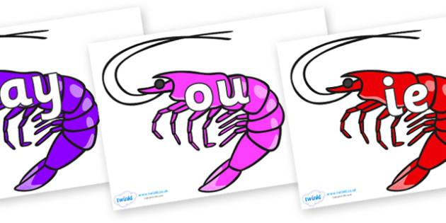 Phase 5 Phonemes on Shrimps - Phonemes, phoneme, Phase 5, Phase five, Foundation, Literacy, Letters and Sounds, DfES, display