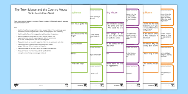 The Town Mouse and the Country Mouse with Blanks Level Questions - Blanks levels, Language for Thinking, verbal reasoning, autism, receptive language