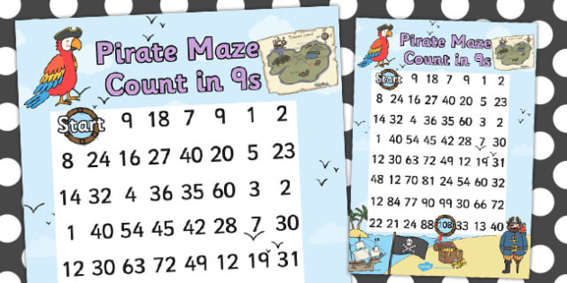 Pirate Themed Counting in 9s Maze Worksheet - pirates, count