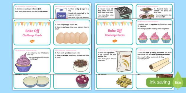 KS1 Bake Off Maths Challenge Cards