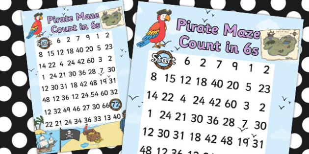Pirate Themed Counting in 6s Maze Worksheet - pirates, count