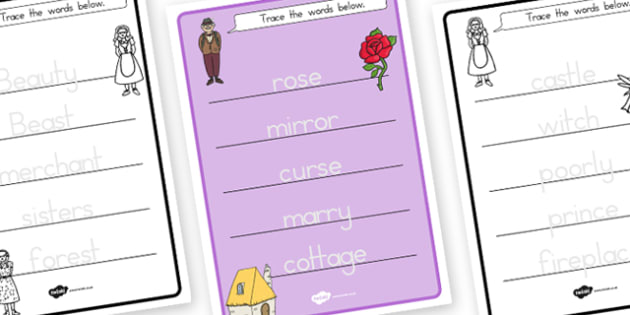 Beauty and the Beast Trace the Words Worksheets - australia