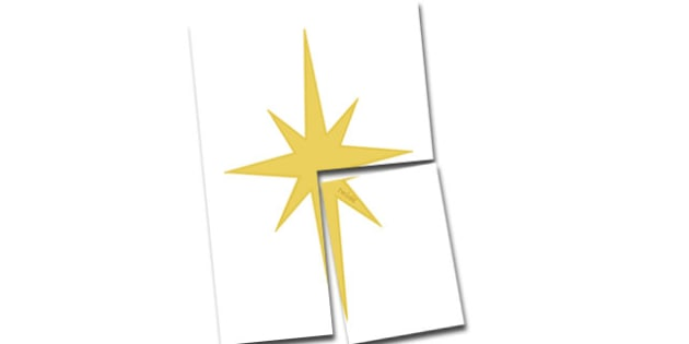Extra Large Display Star Cut-Out - Christmas, xmas, star, large display, display, tree, advent, nativity, santa, father christmas, Jesus, tree, stocking, present, activity, cracker, angel, snowman, advent , bauble