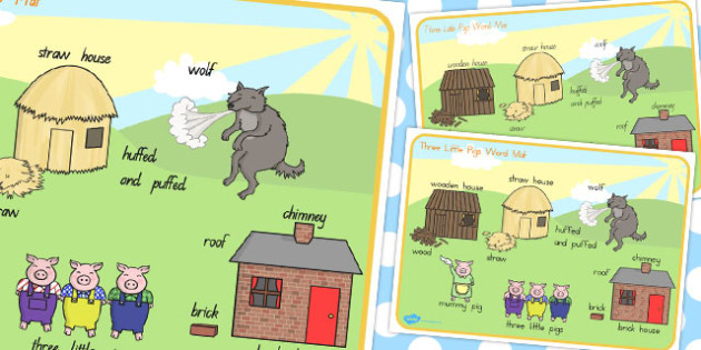 The Three Little Pigs Scene Word Mat - australia, word, mat