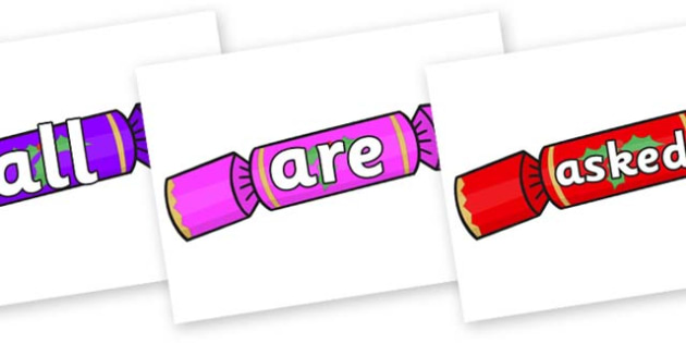 Tricky Words on Multicoloured Crackers - Tricky words, DfES Letters and Sounds, Letters and sounds, display, words