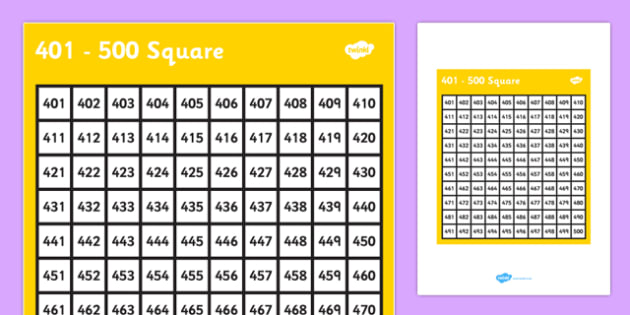 401-500 Square - 401, 500, square, number, number square, maths, numeracy