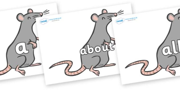 100 High Frequency Words on Rats - High frequency words, hfw, DfES Letters and Sounds, Letters and Sounds, display words