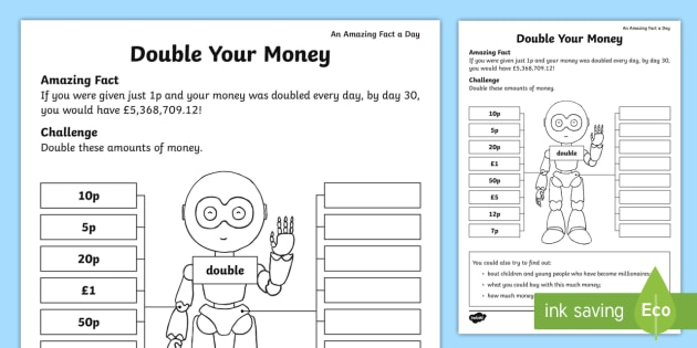 Double Your Money Activity Sheet - Amazing Fact Of The Day, activity sheets, powerpoint, starter, double, Worksheet, half, halve, amazi