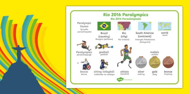 Rio Paralympics 2016 SEN Word Mat Polish Translation - polish, Paralympics, Rio 2016, Brazil, Word Mat, Key words, Key vocabulary, Literacy, English, Special Educational Needs, Language development, Disability Awareness