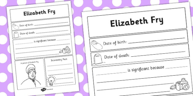 Elizabeth Fry Significant Individual Writing Frame - writing