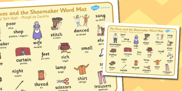 The Elves and the Shoemaker Word Mat Romanian Translation - romanian
