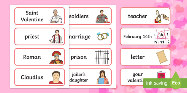 St Valentine Story Word Cards - Valentine's Day,  Feb 14th, love, cupid, hearts, valentine,