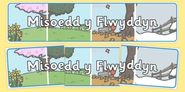 Misoedd y Flwy ddyn Display Banner Cymraeg - welsh, cymraeg, display, banner, months