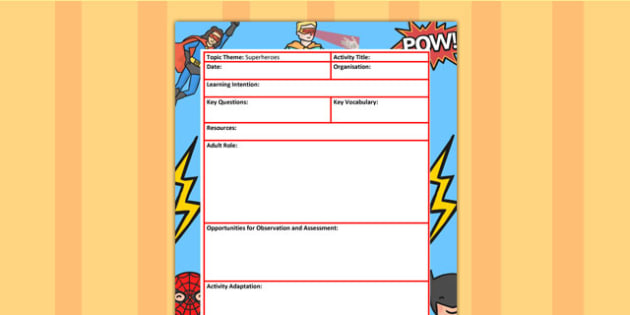 Superhero Themed Adult Led Focus Planning Activity - superheroes