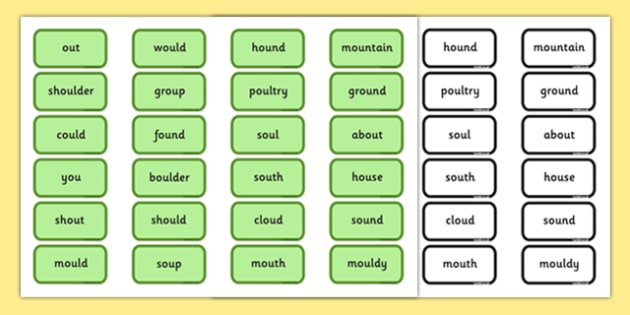 Alternative Pronunciation of OU Sorting Game - phonics, phase 5, phase 5 DfE, letters and sounds