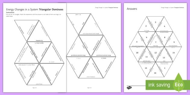 Energy Changes Tarsia Triangular Dominoes - tarsia, gcse, physics, energy, energy changes, energy transfer, joule, joules, power, specific heat, plenary activity