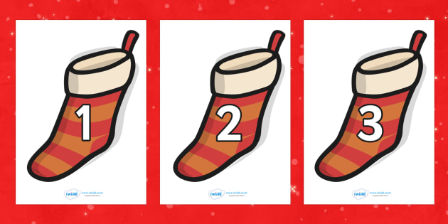 Numbers 0-30 on Christmas Stockings - Christmas, xmas, stocking, advent, nativity, santa, father christmas, Jesus, tree, stocking, present, activity, cracker, angel, snowman, advent , bauble, Foundation Numeracy, Number recognition, Number flashcards