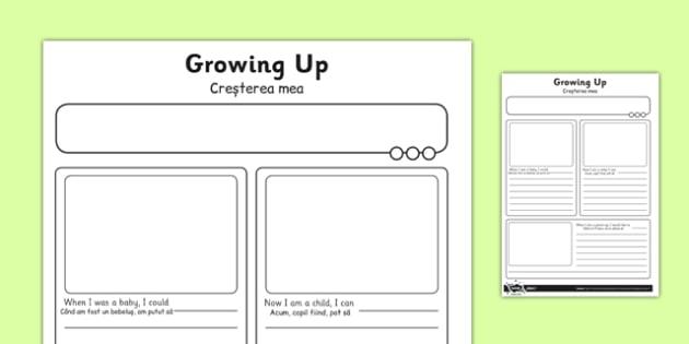 Growing Up Activity Sheet Romanian Translation - romanian, human growth, human life cycle, growing up, worksheet
