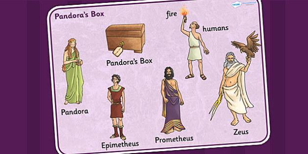 Pandoras Box Ancient Greek Myth Word Mat - greek mythology, myth