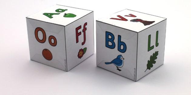 Alphabet Letters Dice Nets Set - a-z, alphabet, visual aid, literacy