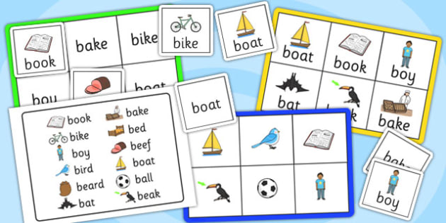 Initial b Sound Bingo and Lotto Game - bingo, lotto, literacy