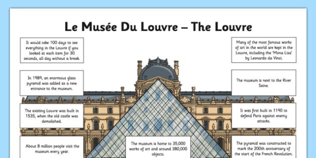 The Louvre Fact File - CfE, second Level, landmarks, monuments, Louvre, Paris, fact sheet, France, scotland, scottish, curriculum, excellence, louvre, paris, landmark, museum, gallery