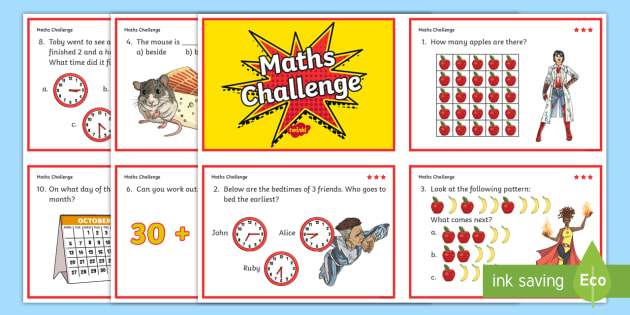 Year 2 Maths Challenge Cards - challenge cards, cards, year 2, KS1, KS1 maths challenge, numeracy, numeracy challenge, numeracy challenge cards, challenge game, superheroes, superheroes numeracy challenge