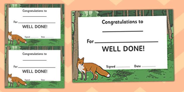 Woodland Fox Certificate - award, rewards, animals, early years, KS1, ks2, key stage 1, key stage 2, praise