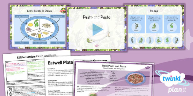 D&T: Edible Garden: Pesto and Pasta LKS2 Lesson Pack 2