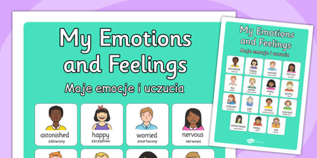 My Emotions and Feelings Vocabulary Poster Polish Translation - polish
