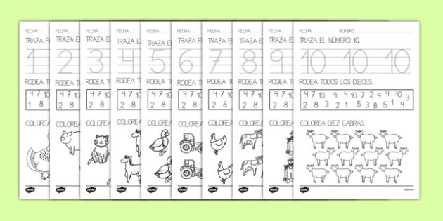En la granja Ficha de números
