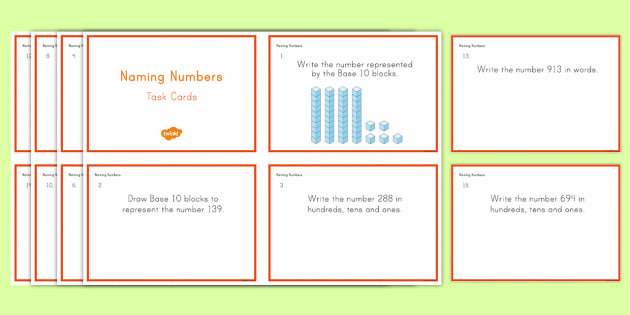 Second Grade Naming Numbers Task Cards - Common Core Second Grade Math Task Cards, numerals, numbers in words, partitioning, hundreds, tens a