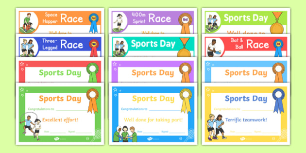 EYFS Multi Skills Sports Day Certificate Pack