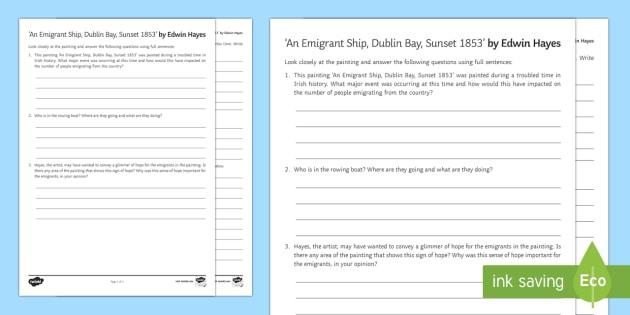 An Emigrant Ship, Dublin Bay, Sunset Art Appreciation Activity Sheet - Irish Art Resources, art strands, display resources, art appreciation, activity sheet, worksheet, ar