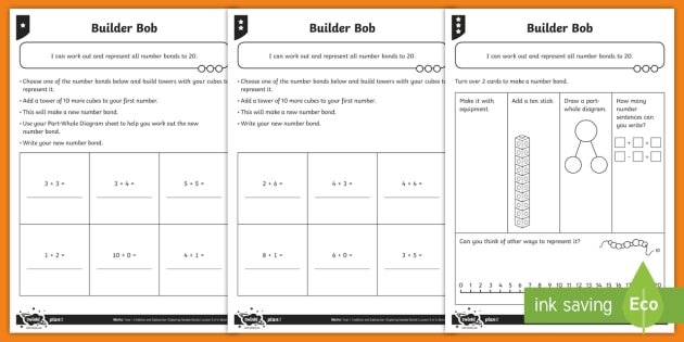 Exploring Bonds to Twenty Differentiated Activity Sheets - Addition and Subtraction, total, take away, add, plus, reasoning, representing bar model, part-whole