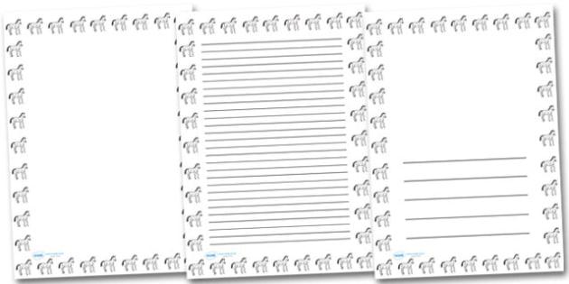 Baby Horse Portrait Page Borders- Portrait Page Borders - Page border, border, writing template, writing aid, writing frame, a4 border, template, templates, landscape