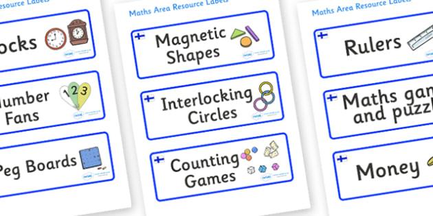 Finland Themed Editable Maths Area Resource Labels - Themed maths resource labels, maths area resources, Label template, Resource Label, Name Labels, Editable Labels, Drawer Labels, KS1 Labels, Foundation Labels, Foundation Stage Labels, Teaching Lab