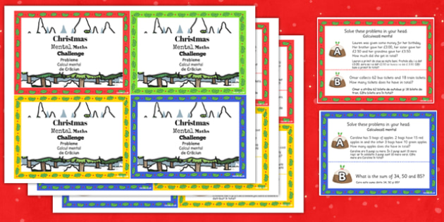 Christmas Mental Maths Challenge Cards Romanian Translation - romanian, christmas, mental maths, challenge cards
