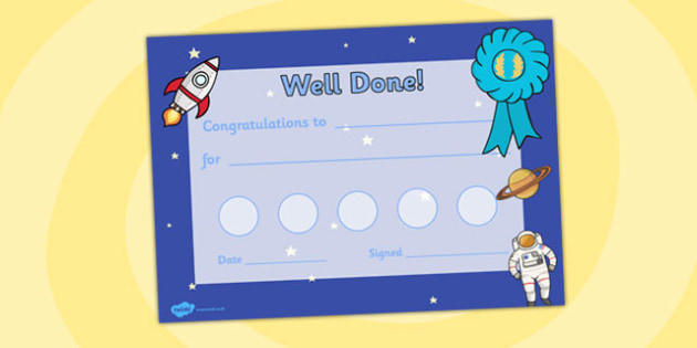 Space Themed Sticker Reward Certificate - space, sticker, reward