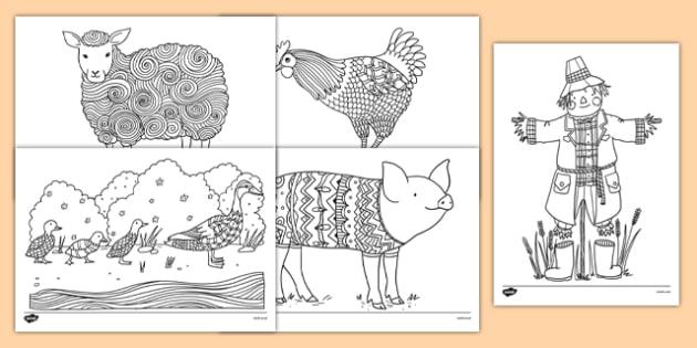 Farm-Themed Mindfulness Colouring Sheets - farm, mindfulness, colouring sheets, colour, de-stress, calm down