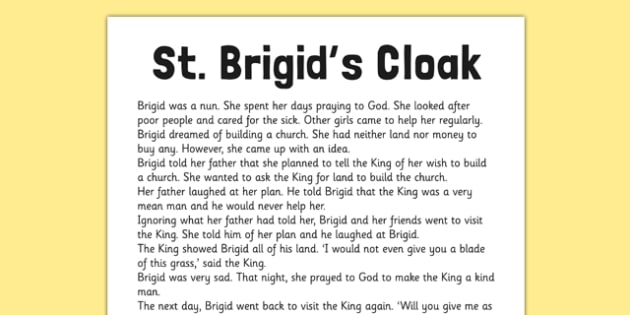 Saint Brigid's Cloak Printable Story Sheet - saint brigid, irish history, ireland, saint, patron, story sheet, printable