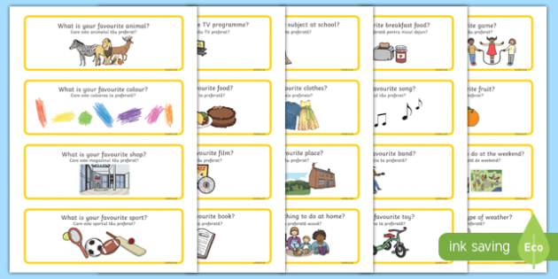Favourites Question Cards Romanian Translation-Romanian-translation