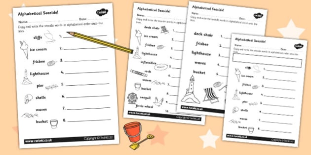 Seaside Themed Differentiated Alphabet Ordering Worksheet