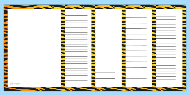Tiger Print Page Borders - writing templates, writing frames, literacy, writing, template, animals
