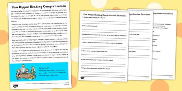 Yom Kippur Reading Comprehension Activity - yom kippur, comprehension