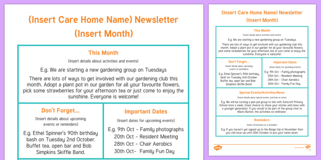Care Home Newsletter Writing Template - Care Home Newsletter, Activity Coordinators, Communication, template, Events, Activities