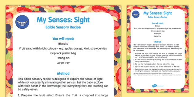 My Senses   Sight Edible Sensory Recipe