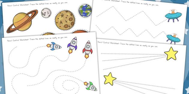 Space Themed Pencil Contol Worksheets - Worksheet, Motor, Skills