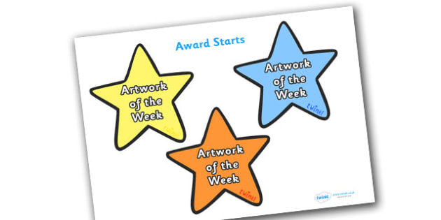 Artwork of the Week Award Star - artwork of the week award star, artwork of the week, artwork, week, star, stars, certificates, award, well done, reward, medal, rewards, school, general, certificate, achievement